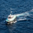 Stock Photo: Green and White Pilot Boat in Martinique