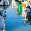 Boats in Burano Canal with Colorful Homes Reflected — Stock Photo
