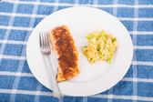 Broiled Salmon with Rice Casserole — Stock Photo