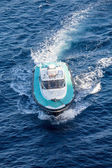 Green and White Pilot Boat on Blue Water — Stock Photo