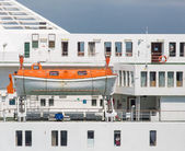 Orange and White Lifeboat on Luxury Cruise Ship — Photo