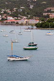Sailboats in St Thomas Bay with Resorts — Stock Photo