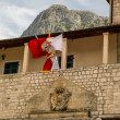 Old Crest and Montenegro Flag in Kotor — Stock Photo