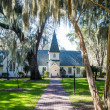Small White Church Down Walk Under Spanish Moss — Stock Photo #44337185