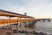 Wood Pier in Early Morning Light. — Stock Photo