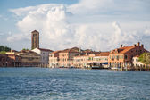 Water Bus Station and Church Tower in Venice — Stock Photo
