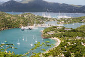 Many Yachts and Sailboats in Antigua Harbor — Stock Photo