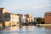 Old Blue and Red Boats in Venice Canal — Stock Photo