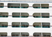 Enclosed Balconies on White Cruise Ship — Stock Photo