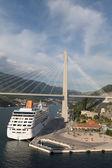 Cruise Ship Under Suspension Bridge — Stock Photo
