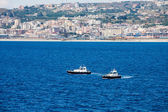 Two Pilot Boats in Blue Water Off Italian Coast — Stock Photo
