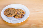 Oatmeal Cranberry Cookies on a Plate — Stok fotoğraf