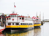 White Yellow and Red Ferrys at Dock — Stock Photo
