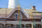 Scaffolding on Brick Keepers House by Lighthouse — Stock Photo