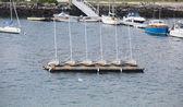 Six Sailboats on a Dock — Stock Photo