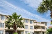 Luxury Beach Condos with Palm Trees — Stock Photo