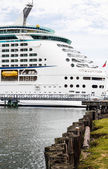 Cruise Ship Beyond Row of Pilings — Stock Photo