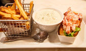 Lobster Roll and French Fries — Stock Photo