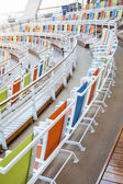 Rows of Colorful Canvas Chairs Curving Around an Arena — Photo