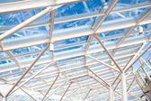 Glass Atrium Roof Supported by White Steel — Stock Photo