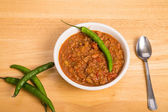 Chili with Cayenne and Pepper in Bowl — Stock Photo
