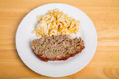 Meatloaf and Macaroni Cheese on Wood Table.jpg — Stock Photo