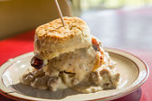 Chicken Biscuit and Gravy — Stock Photo
