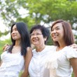 Outdoor Asian family — Stock Photo