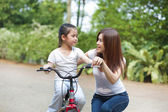 Leaning to ride a bike — Stock Photo