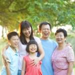 Happy outdoor family — Stock Photo