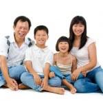 Fullbody happy Asian family — Stock Photo