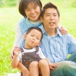buiten Aziatische familie — Stockfoto