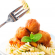 Stock Photo: Fusilli on fork