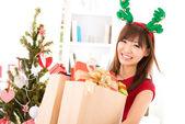 Buying Christmas gift — Stock Photo