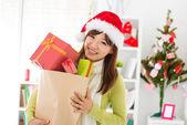 Christmas gift shopping — Stock Photo