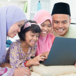 Stock Photo: Muslim family interaction