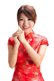 Chinese girl blessing — Stock Photo