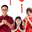 Chinese family greeting — Stock Photo