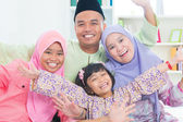 Southeast Asian family quality time at home. — Stock Photo