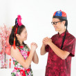 Asian greeting during Chinese New Day — Stock Photo