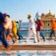 Group of Sikh pilgrims walking by the Golden Temple — Stock Photo #18713147