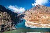 Zanskar and Indus rivers — Stock Photo
