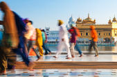 Group of Sikh pilgrims walking by the Golden Temple — Stock Photo