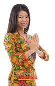 Southeast Asian girl greeting — Stock Photo