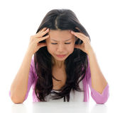 Headache Asian woman — Stock Photo