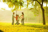 Happy asian family playing on the field — Stok fotoğraf