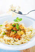 Delicious pasta fusilli — Stock Photo