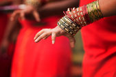 Hindu devotee's hand — Stock Photo