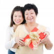 Asian family and gift box — Stock Photo #21248127