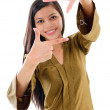 Southeast Asian Muslim female making a frame with fingers — Stockfoto